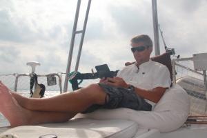 12 hours earlier - enjoying the large following seas